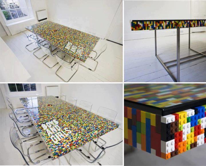 Mesa feita de#lego